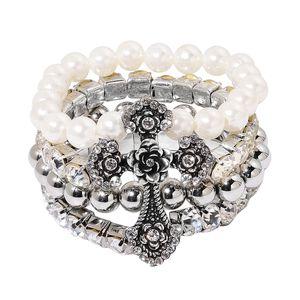 Simulated Pearl, Austrian Crystal Silvertone Cross Bracelet (Stretchable)