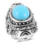 Nefertiti's Treasure Blue Howlite Silvertone Ring (Size 6.5) TGW 15.00 cts.