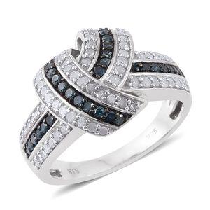 Blue Diamond (IR), Diamond Blue Rhodium and Platinum Over Sterling Silver Knot Ring (Size 6.0) TDiaWt 1.01 cts, TGW 1.01 cts.