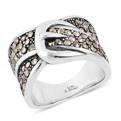 Swiss Marcasite Black Oxidized Stainless Steel Buckle Ring (Size 10.0) TGW 0.60 cts.