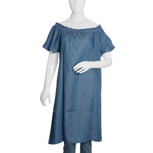 Light Denim Short Tunic with Smocked Effect Shoulder-Size 20