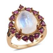 Sri Lankan Rainbow Moonstone, Orissa Rhodolite Garnet, Thai Black Spinel 14K YG Over Sterling Silver Ring (Size 6.0) TGW 12.80 cts.