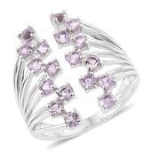 KARIS Collection - Rose De France Amethyst Platinum Bond Brass Ring (Size 7.0) TGW 1.70 cts.