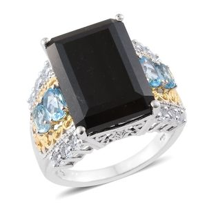 Australian Black Tourmaline, Electric Blue Topaz, White Topaz 14K YG and Platinum Over Sterling Silver Ring (Size 6.0) TGW 19.32 cts.