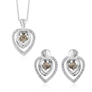 Turkizite, Cambodian Zircon Platinum Over Sterling Silver Heart Earrings and Pendant With Chain (20 in) TGW 2.16 cts.