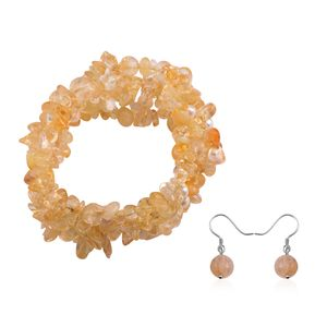 Brazilian Citrine Chips, Freshwater Pearl - White Sterling Silver Bracelet (Stretchable) and Earring TGW 261.50 cts.