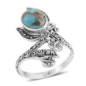 Bali Legacy Collection Mojave Blue Turquoise Sterling Silver Bypass Ring (Size 6.0) TGW 1.82 cts.