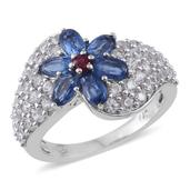 Himalayan Kyanite, Niassa Ruby, Cambodian Zircon Platinum Over Sterling Silver Ring (Size 5.0) TGW 4.32 cts.