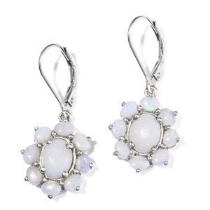 Australian White Opal Platinum Over Sterling Silver Lever Back Earrings TGW 2.96 cts.
