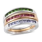 TLV Set of 3 Russian Diopside, Niassa Ruby, Tanzanite 14K YG and Platinum Over Sterling Silver Band Ring (Size 6) TGW 1.95 cts.