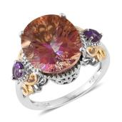 Mystic Twilight Topaz, Amethyst 14K YG and Platinum Over Sterling Silver Ring (Size 7.0) TGW 9.75 cts.