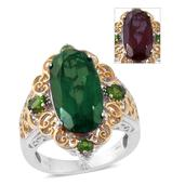 Alexandria Quartz, Russian Diopside 14K YG and Platinum Over Sterling Silver Ring (Size 6.0) TGW 9.57 cts.