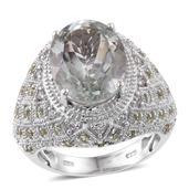 Deepak's Dazzling Deals Green Amethyst, Hebei Peridot, Cambodian Zircon Platinum Over Sterling Silver Ring (Size 6.0) TGW 9.29 cts.