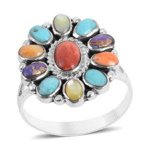 Santa Fe Style Mojave Purple Turquoise, Multi Gemstone Sterling Silver Ring (Size 7.0) TGW 3.65 cts.