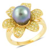 Tahitian Pearl, Hebei Peridot 14K YG Over Sterling Silver Flower Ring (Size 8.0) TGW 0.85 cts.
