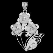 Bali Legacy Collection Sterling Silver Floral Pendant without Chain (4.4 g)