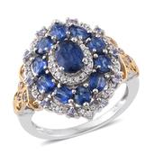 Himalayan Kyanite, Tanzanite, Cambodian Zircon 14K YG and Platinum Over Sterling Silver Ring (Size 5.0) TGW 4.51 cts.