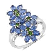 Himalayan Kyanite, Russian Diopside Platinum Over Sterling Silver Floral Ring (Size 5.0) TGW 5.55 cts.