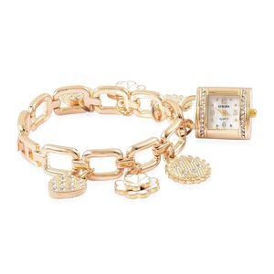 STRADA White Austrian Crystal, Enamled Japanese Movement Water Resistant Multi Charm Bracelet Watch in Goldtone