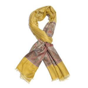 Yellow and Brown 100% Modal Jacquard Reversible Scarf (70x27 in)