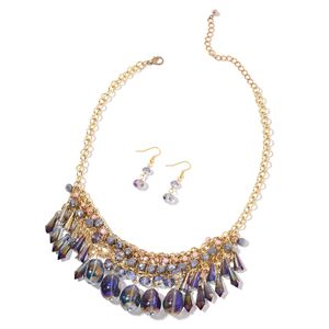 Multi Color Glass Goldtone and ION Plated YG Stainless Steel Earrings and Necklace (18 in) Total Gem Stone Weight 356.00 Carat