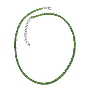 Russian Diopside Beads Sterling Silver Necklace (18-20 in) TGW 51.00 cts.