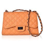 Pumpkin Faux Leather Quilted Pattern Crossbody Bag with Adjustable Strap (9.5x3.5x6.5 in)