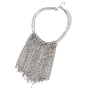 Silvertone Fringe Choker on Faux Leather Braided Strand (18 in)