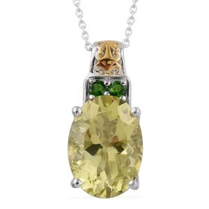Ouro Verde Quartz, Russian Diopside 14K YG and Platinum Over Sterling Silver Pendant With Chain (20 in) TGW 6.23 cts.