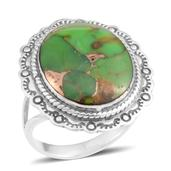 Santa Fe Style Mojave Green Turquoise Sterling Silver Ring (Size 8.0) TGW 3.75 cts.