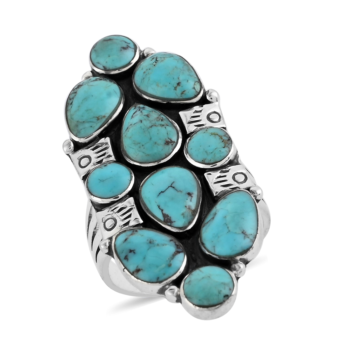 Santa Fe Style Kingman Turquoise Sterling Silver Ring (Size 7.0) TGW 9.68 cts.