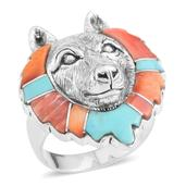Santa Fe Style Mojave Blue Turquoise, Muli Color Spiney Oyster Shell Sterling Silver Wolf Head Men's Ring (Size 10.0) TGW 1.32 cts.