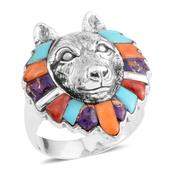 Santa Fe Style Multi Gemstone Sterling Silver Wolf Head Ring (Size 13.0) TGW 2.00 cts.