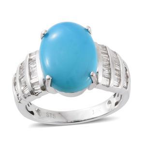 14K WG Arizona Sleeping Beauty Turquoise, Diamond Ring (Size 7.0) TDiaWt 0.30 cts, TGW 4.95 cts.