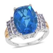 Caribbean Quartz, Tanzanite 14K YG and Platinum Over Sterling Silver Ring (Size 6.0) TGW 12.50 cts.