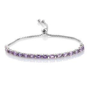 Mauve Sapphire Platinum Over Sterling Silver Bracelet (7.50 In) TGW 4.33 cts.