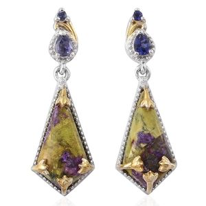 Tasmanian Stichtite, Catalina Iolite 14K YG and Platinum Over Sterling Silver Earrings TGW 7.27 cts.