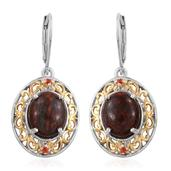 Dino Bone, Jalisco Cherry Fire Opal 14K YG and Platinum Over Sterling Silver Lever Back Earrings TGW 7.72 cts.