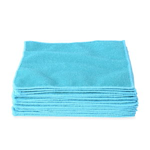 Set of 20 Double Sided Microfiber and Scratch Fiber Dish Cloth (10x10 in)-Turquoise