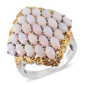 Australian White Opal 14K YG and Platinum Over Sterling Silver Ring (Size 8.0) TGW 3.82 cts.