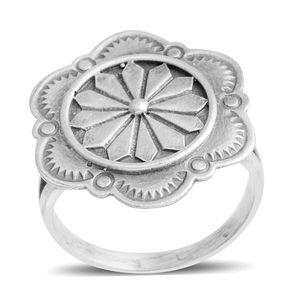 Santa Fe Style Sterling Silver Flower Split Ring (Size 8.0) (3 g)