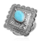 Santa Fe Style Turquoise Sterling Silver Ring (Size 8.0) TGW 1.35 cts.