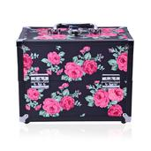 2 Tier Foldable Flotal Printed Faux Leather Jewelry Box (11.1x6.5x8.3 in)