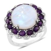 Sri Lankan Rainbow Moonstone, Amethyst Platinum Over Sterling Silver Ring (Size 8.0) TGW 15.90 cts.