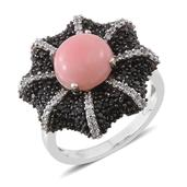 Peruvian Pink Opal, Thai Black Spinel, Cambodian Zircon Platinum Over Sterling Silver Ring (Size 10.0) TGW 5.39 cts.