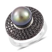 Tahitian Pearl, Thai Black Spinel Platinum Over Sterling Silver Ring (Size 10.0) TGW 1.50 cts.