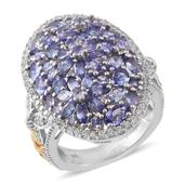 Tanzanite, Cambodian Zircon 14K YG and Platinum Over Sterling Silver Butterfly Floral Cocktail Ring (Size 5.0) TGW 5.96 cts.