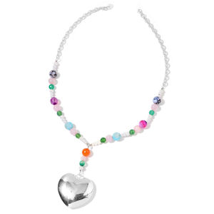 Multi Color Agate Beads, Simulated Pearl, Galilea Rose Quatz Stainless Steel Heart Necklace (22 in) TGW 84.00 cts.