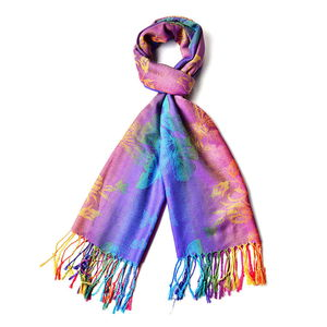 Rainbow Floral Butterfly 100% Polyester Scarf with Fringes (70x28 in)