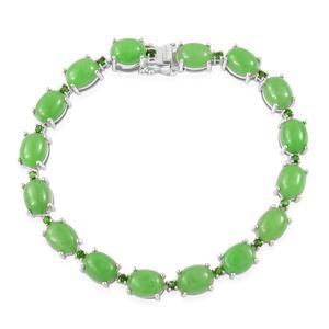 Burmese Green Jade, Russian Diopside Sterling Silver Bracelet (7.50 In) TGW 36.90 cts.